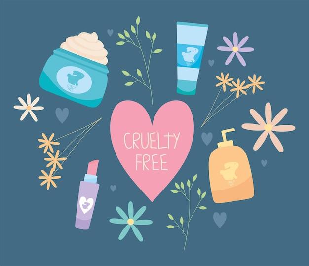 Ilustración libre de crueldad con flores y productos.