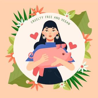 Ilustración libre de crueldad y vegana dibujada a mano