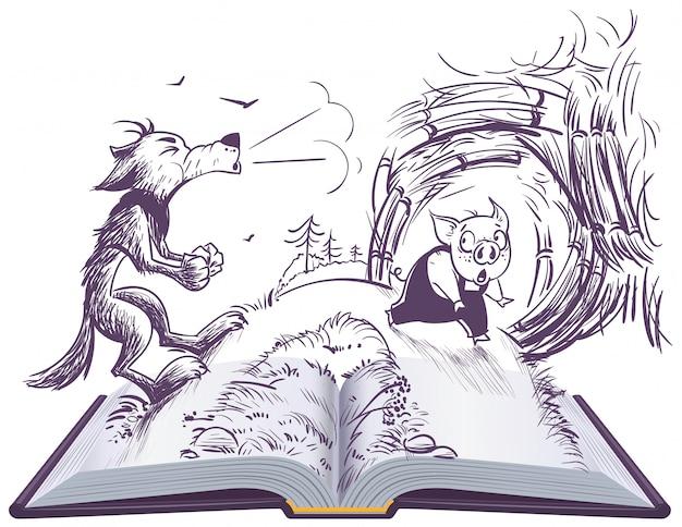 Ilustración de libro abierto de cuento de hadas de tres cerdos. lobo soplando rompió casa