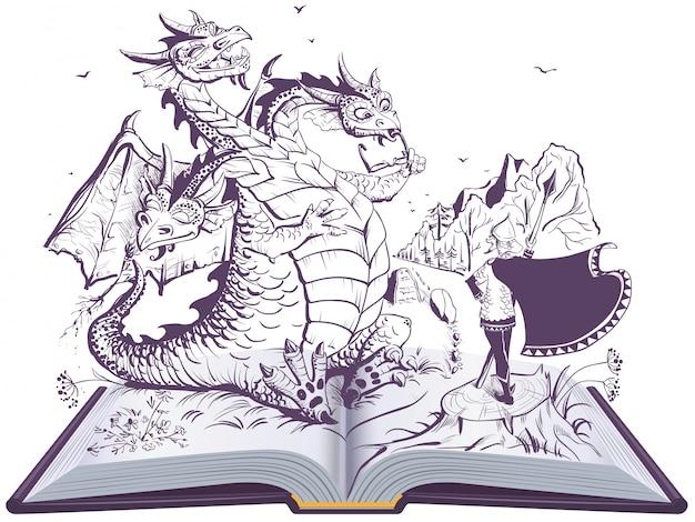 Ilustración de libro abierto de dragón y héroe divertido. serpiente rusa de tres cabezas gorynych y caballero