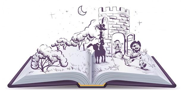 Ilustración de libro abierto músicos del cuento de bremen
