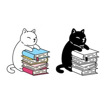Ilustración de libro de dibujos animados de gatito gato