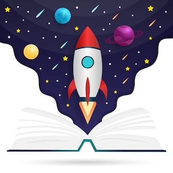 Ilustración de libro de fuentes de conocimiento