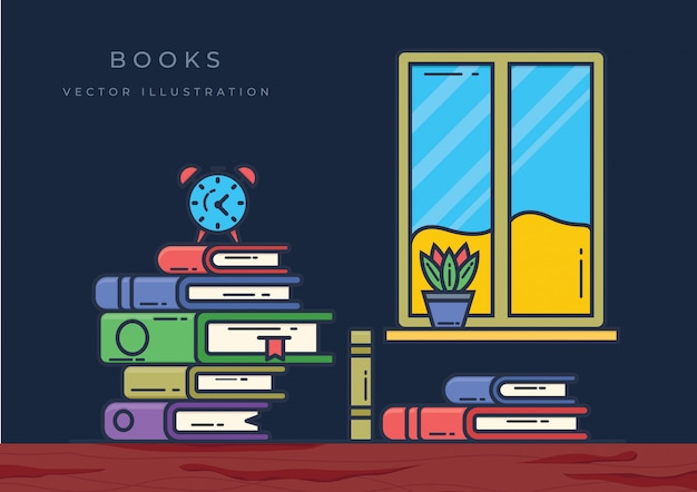 Ilustración de libros de pila con ventana