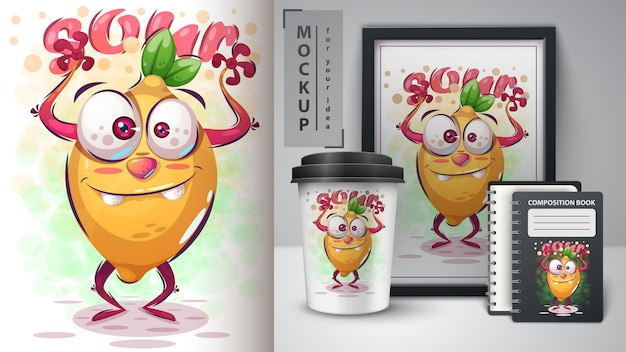 Ilustración de limón loco y merchandising
