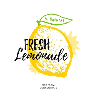 Ilustración de limonada fresca para diseño de cartel o paquete. vector de limón estilizado