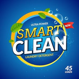Ilustración de limpiador de diseño limpio inteligente de detergente para ropa