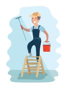 La ilustración del limpiador de ventanas es limpiar la ventana con una escobilla de goma. mantenimiento de casa