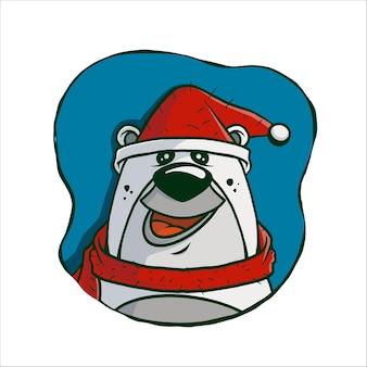 Ilustración linda cabeza de oso polar