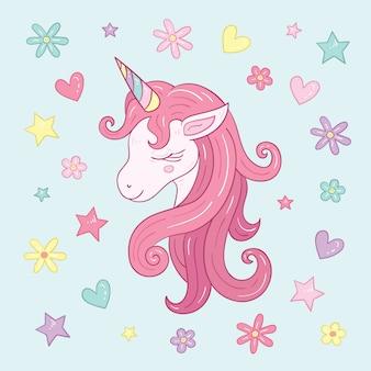 Ilustración linda cabeza de unicornio