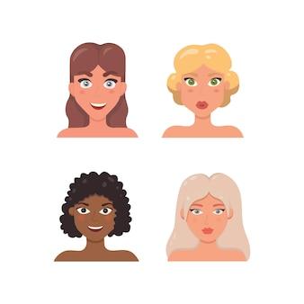 Ilustración linda de la cara de la mujer. avatar de mujer en estilo de dibujos animados.