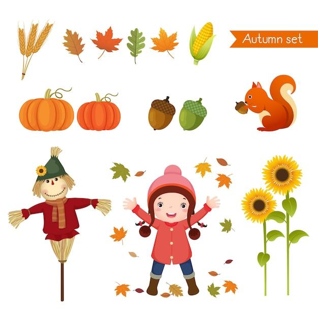 Ilustración de linda chica y colección para otoño.