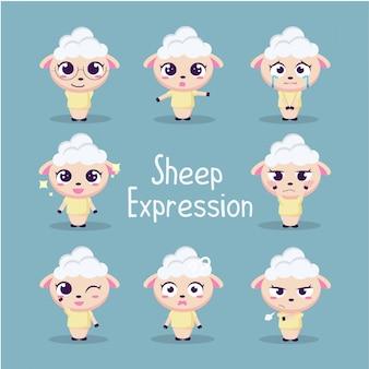 Ilustración linda de la colección de ovejas