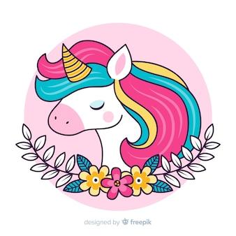 Ilustración linda con colorido unicornio