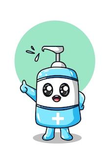 Ilustración linda del desinfectante de manos