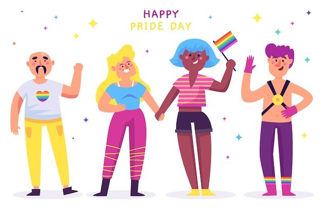 Ilustración linda del día del orgullo