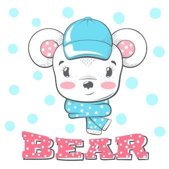 Ilustración linda, divertida del oso del invierno.