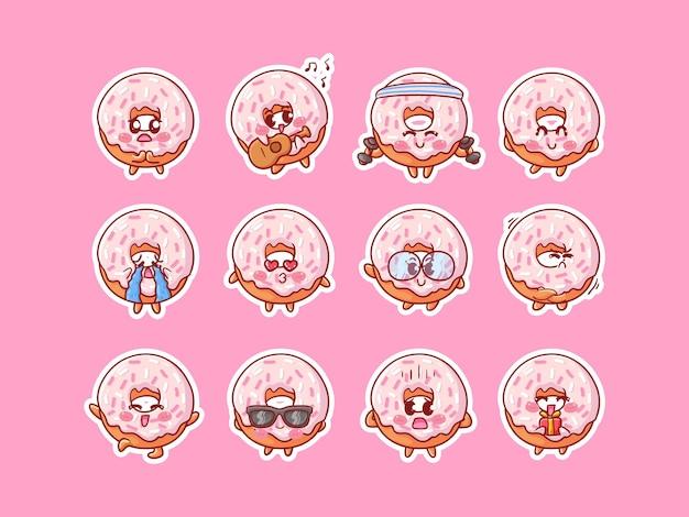 Ilustración linda de las etiquetas engomadas del personaje de kawaii donut con varias actividades de expresión feliz para la mascota