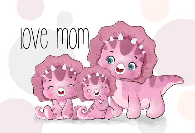 Ilustración linda de la familia de dino