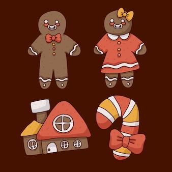 Ilustración linda de galletas de jengibre de navidad