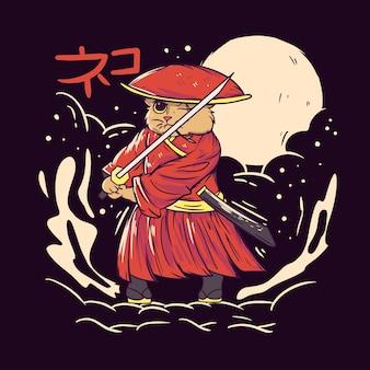 Ilustración linda del gato samurai