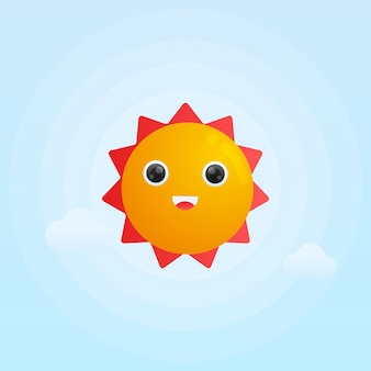 Ilustración linda del gradiente del sol de la sonrisa