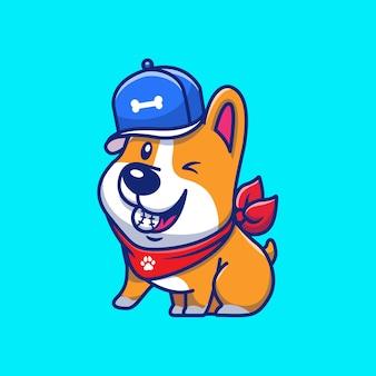 Ilustración linda del icono del béisbol de corgi. deporte corgi mascota personaje de dibujos animados. concepto de icono animal aislado