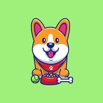 Ilustración linda del icono del corgi, de la bola y del hueso. personaje de dibujos animados de la mascota de corgi. concepto de icono animal aislado