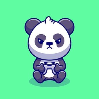 Ilustración linda del icono de la historieta del juego de panda. concepto de icono de tecnología animal premium. estilo de dibujos animados plana