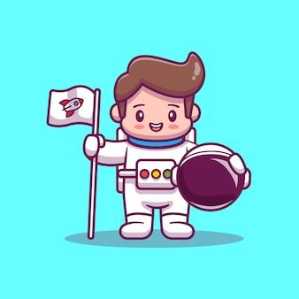 Ilustración linda del icono de la historieta del niño del astronauta. concepto de icono de personas aislado. estilo plano de dibujos animados