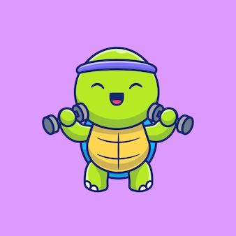 Ilustración linda del icono de la historieta de las pesas de levantamiento de la tortuga. animal gym fitness icono concepto aislado. estilo de dibujos animados plana