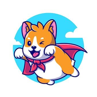 Ilustración linda del icono de la historieta del vuelo del héroe del perro de corgi.