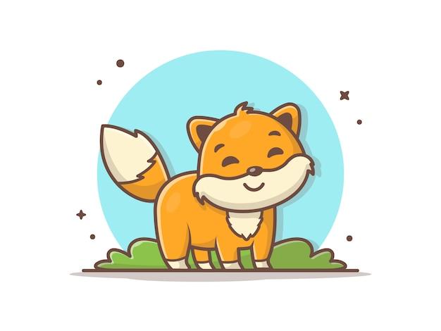 Ilustración linda del icono del logotipo de la mascota del zorro