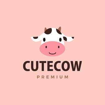 Ilustración linda del icono del logotipo de la vaca