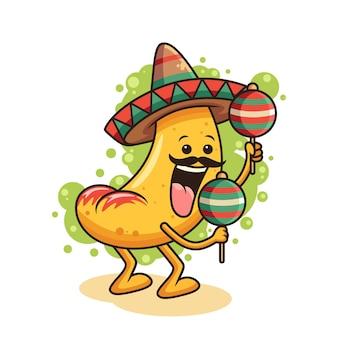 Ilustración linda del icono de nacho. concepto de icono de comida con pose divertida. aislado sobre fondo blanco