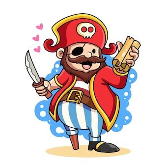Ilustración linda del icono del pirata. concepto de icono pirata traer mapa del tesoro aislado sobre fondo blanco.