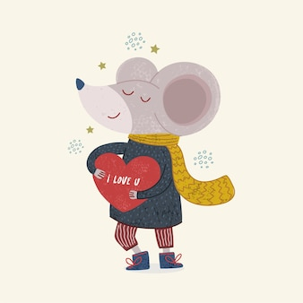 Ilustración de una linda ilustración de ratón para libro infantil