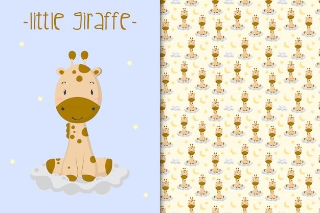 Ilustración linda jirafa y patrones sin fisuras