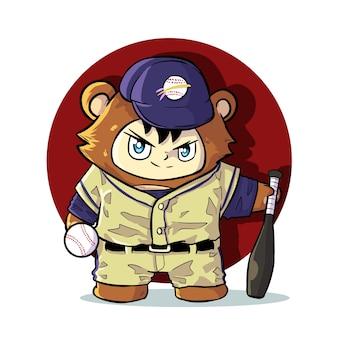Ilustración linda de la mascota del oso de béisbol
