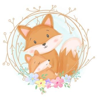 Ilustración linda de la maternidad del zorro