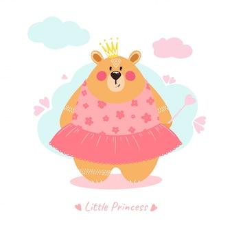 Ilustración linda de la muchacha del oso