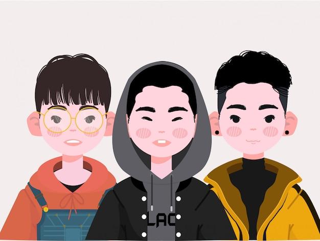 Ilustración linda de los muchachos asiáticos