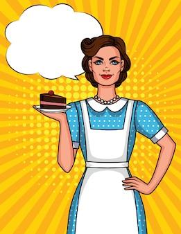 Ilustración de una linda mujer en delantal con plato de pastel