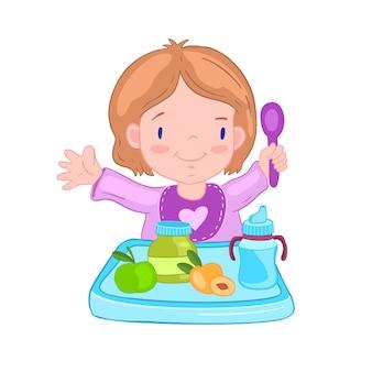 Ilustración con linda niña en un babero con cuchara cerca de la mesa.