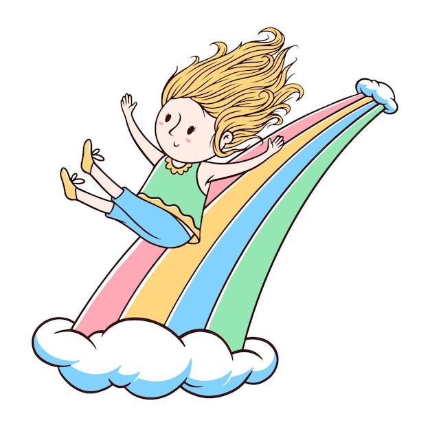 Ilustración linda del niño y del arco iris