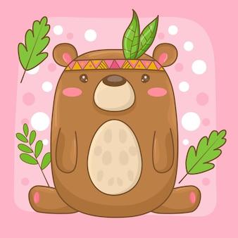 Ilustración linda del oso de peluche con la hoja