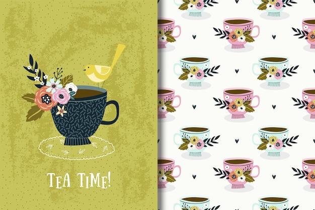 Ilustración linda con pájaro y ramo de flores en la taza. tarjeta de fiesta de té y patrones sin fisuras
