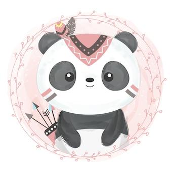 Ilustración linda de panda boho