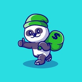 Ilustración linda panda ladrón de dinero