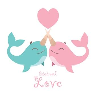 Ilustración de una linda pareja de narvales enamorada